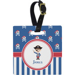 Blue Pirate Square Luggage Tag (Personalized)