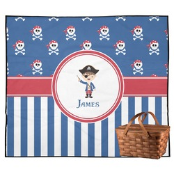 Blue Pirate Outdoor Picnic Blanket (Personalized)