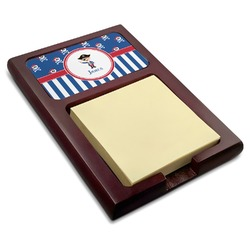 Blue Pirate Red Mahogany Sticky Note Holder (Personalized)