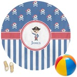 Blue Pirate Round Beach Towel (Personalized)