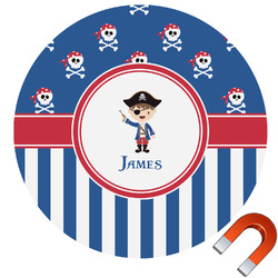 Blue Pirate Round Car Magnet (Personalized)