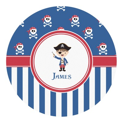 Blue Pirate Round Decal (Personalized)
