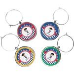 Blue Pirate Wine Charms (Set of 4) (Personalized)