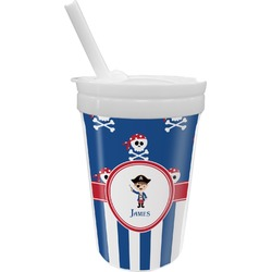 Blue Pirate Sippy Cup with Straw (Personalized)