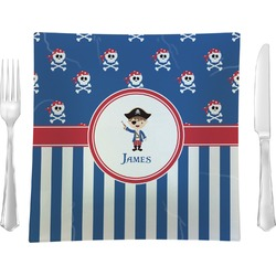 """Blue Pirate Glass Square Lunch / Dinner Plate 9.5"""" - Single or Set of 4 (Personalized)"""