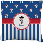Blue Pirate Faux-Linen Throw Pillow (Personalized)
