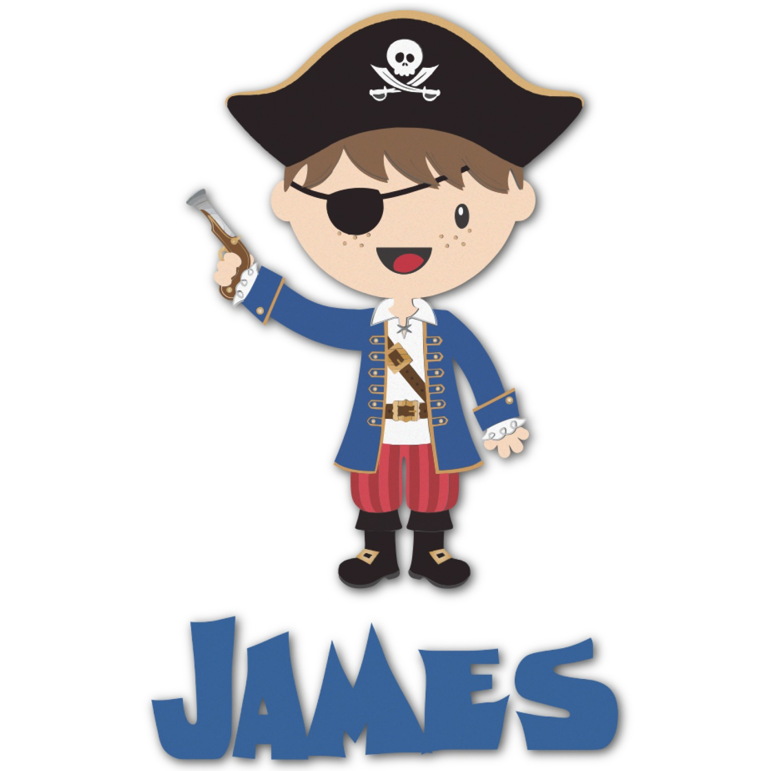 Pirates Kids Wall Decal: Blue Pirate Graphic Decal