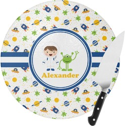 Boy's Space Themed Round Glass Cutting Board - Small (Personalized)