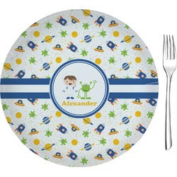 "Boy's Space Themed 8"" Glass Appetizer / Dessert Plates - Single or Set (Personalized)"