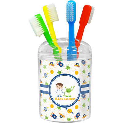 Boy 39 s space themed toothbrush holder personalized for Space themed bathroom accessories
