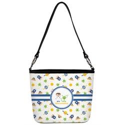 Boy's Space Themed Bucket Bag w/ Genuine Leather Trim (Personalized)