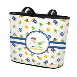 Boy's Space Themed Bucket Tote w/ Genuine Leather Trim (Personalized)