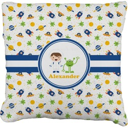 """Boy's Space Themed Faux-Linen Throw Pillow 16"""" (Personalized)"""