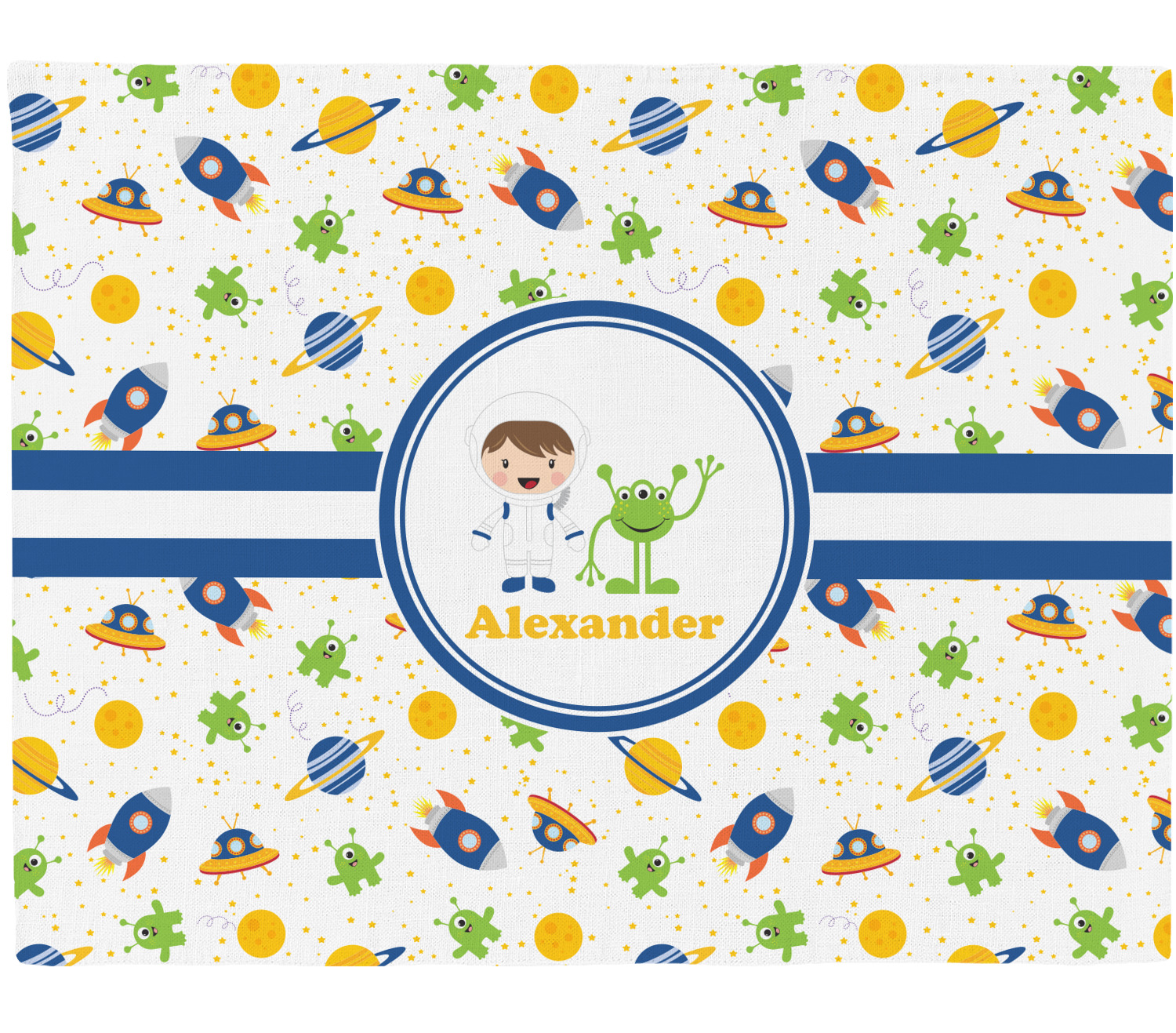 Boy 39 s space themed placemat fabric personalized for Space themed fabric