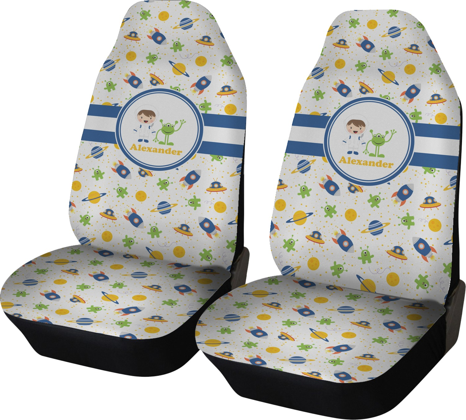 Boys Space Themed Car Seat Covers Set Of Two