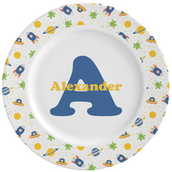 Boy's Space Themed Ceramic Dinner Plates (Set of 4) (Personalized)