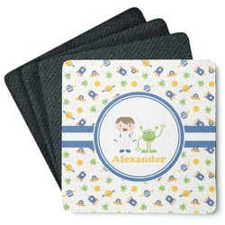 Boy's Space Themed 4 Square Coasters - Rubber Backed (Personalized)