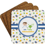 Boy's Space Themed Coaster Set w/ Stand (Personalized)