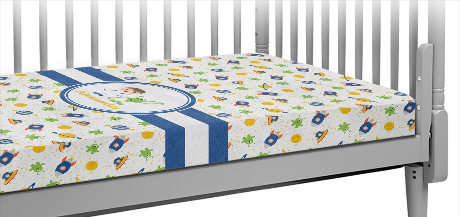 Boy's Space Themed Crib Fitted Sheet (Personalized