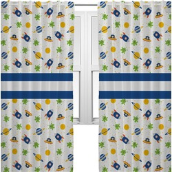 Boy's Space Themed Curtains (2 Panels Per Set) (Personalized)