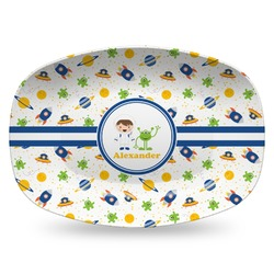 Boy's Space Themed Plastic Platter - Microwave & Oven Safe Composite Polymer (Personalized)