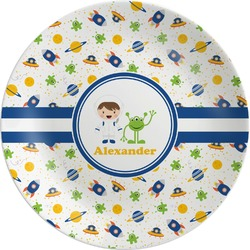 Boy's Space Themed Melamine Plate (Personalized)