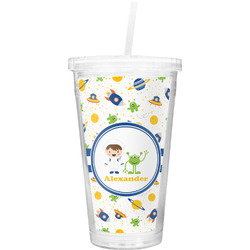 Boy's Space Themed Double Wall Tumbler with Straw (Personalized)