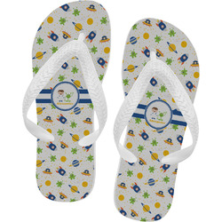 Boy's Space Themed Flip Flops - Large (Personalized)
