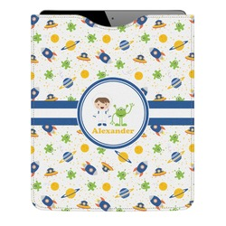 Boy's Space Themed Genuine Leather iPad Sleeve (Personalized)