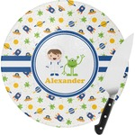 Boy's Space Themed Round Glass Cutting Board (Personalized)