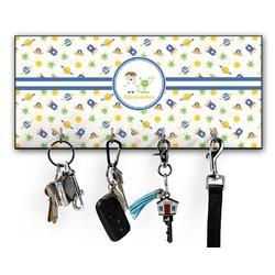 Boy's Space Themed Key Hanger w/ 4 Hooks (Personalized)