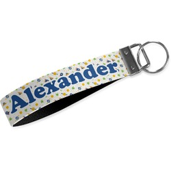 Boy's Space Themed Wristlet Webbing Keychain Fob (Personalized)