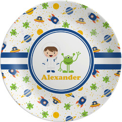 "Boy's Space Themed Melamine Plate - 8"" (Personalized)"