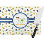 Boy's Space Themed Rectangular Glass Cutting Board (Personalized)