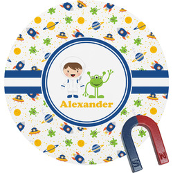 Boy's Space Themed Round Fridge Magnet (Personalized)
