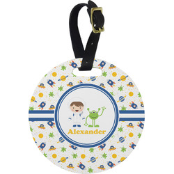 Boy's Space Themed Plastic Luggage Tag - Round (Personalized)