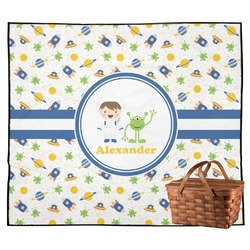 Boy's Space Themed Outdoor Picnic Blanket (Personalized)