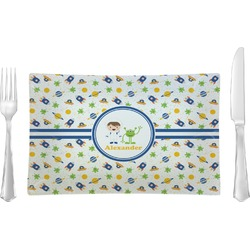 Boy's Space Themed Glass Rectangular Lunch / Dinner Plate - Single or Set (Personalized)