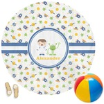 Boy's Space Themed Round Beach Towel (Personalized)