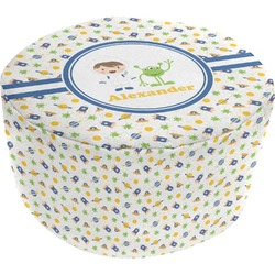 Boy's Space Themed Round Pouf Ottoman (Personalized)