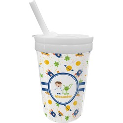 Boy's Space Themed Sippy Cup with Straw (Personalized)