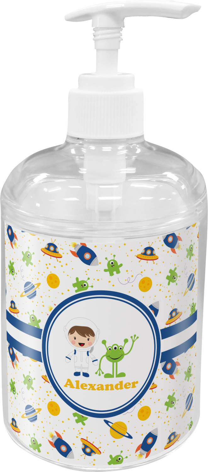 Boy 39 s space themed soap lotion dispenser personalized for Space themed bathroom accessories