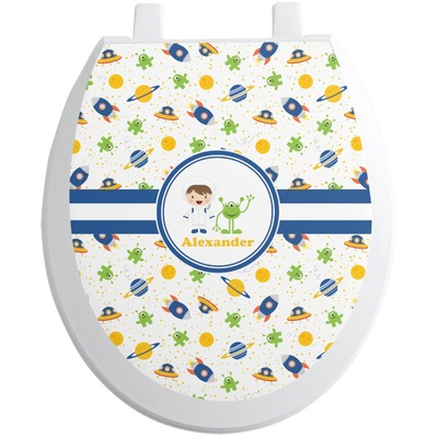 Boy's Space Themed Toilet Seat Decal (Personalized)
