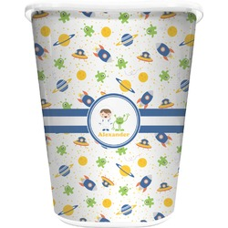 Boy's Space Themed Waste Basket - Double Sided (White) (Personalized)