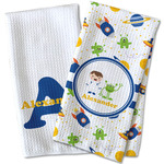 Boy's Space Themed Waffle Weave Kitchen Towel (Personalized)
