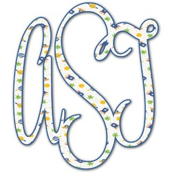Boy's Space Themed Monogram Decal - Custom Sized (Personalized)