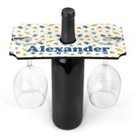 Boy's Space Themed Wine Bottle & Glass Holder (Personalized)