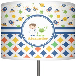"""Boy's Space & Geometric Print 13"""" Drum Lamp Shade (Personalized)"""