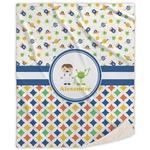 Boy's Space & Geometric Print Sherpa Throw Blanket (Personalized)