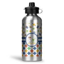Boy's Space & Geometric Print Water Bottle - Aluminum - 20 oz (Personalized)
